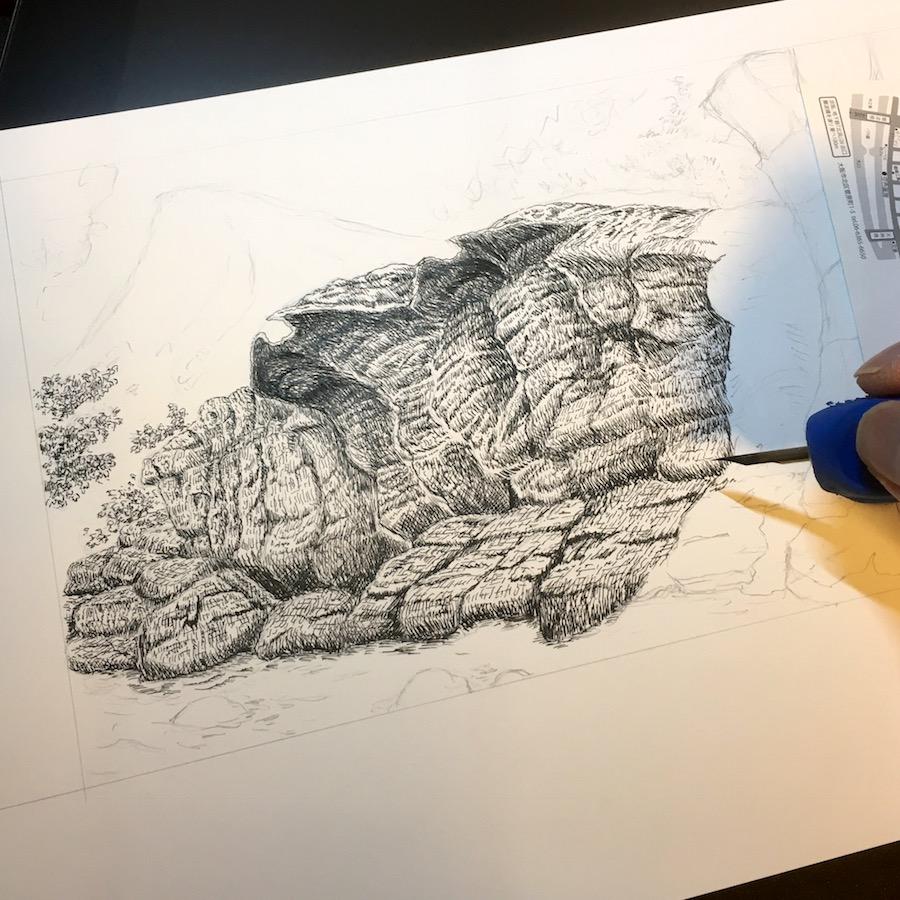 丸ペンで細密画を描いている途中 -習作-