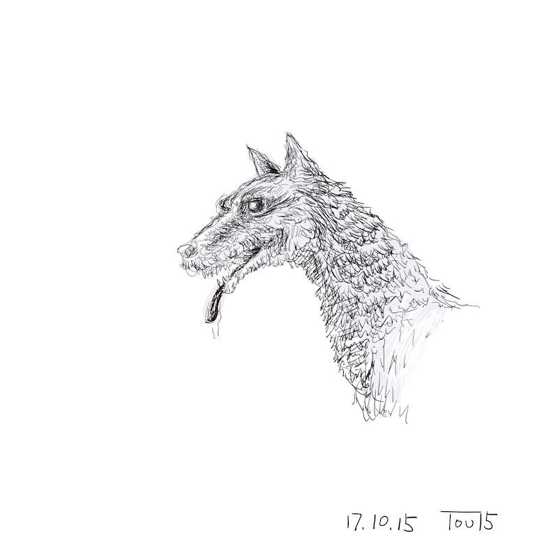 10分ペン画 -わんちゃん-
