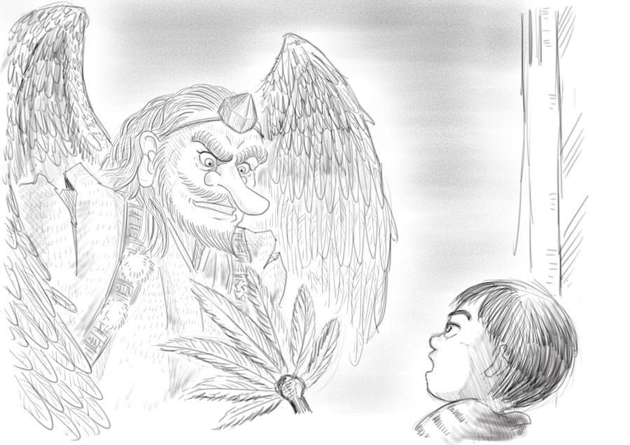絵本ラフ用「天狗と子供」を描く =前編=
