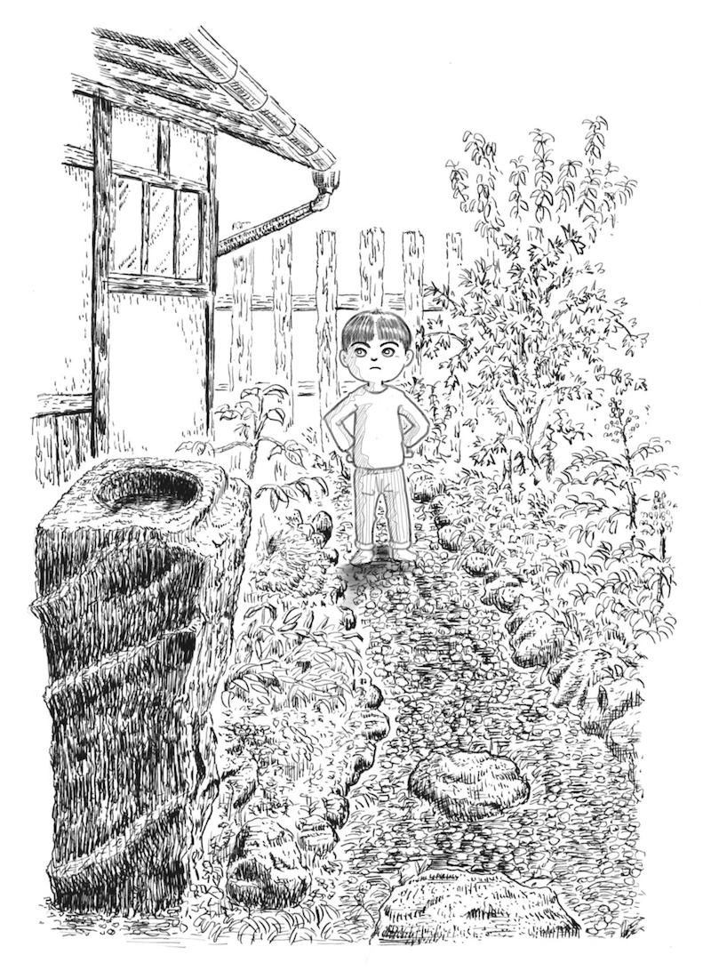 ペン画習作『庭とぼく』
